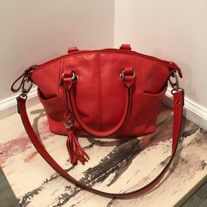 Tignanello red leather satchel with shoulder strap